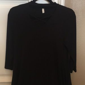 🆕 Black Lace-Up Detail Dress w/ Pockets
